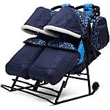 Санки-коляска для двойни ABC Academy Зимняя сказка 3В Твин, черная рама, синий/зоопарк