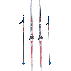 Лыжный комплект на 75мм, Соболь, красные лыжи, палки синие