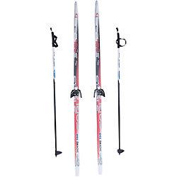Лыжный комплект на 75мм, Соболь, красные лыжи, палки черные
