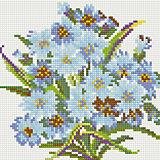"""Алмазная мозаика по номерам """"Голубые цветы"""" 20*20 см (на подрамнике)"""