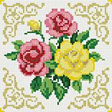 """Алмазная мозаика по номерам """"Букет красные и желтая розы"""" 20*20 см (на подрамнике)"""