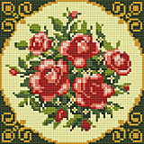 """Алмазная мозаика по номерам """"Букет красных роз"""" 20*20 см (на подрамнике)"""