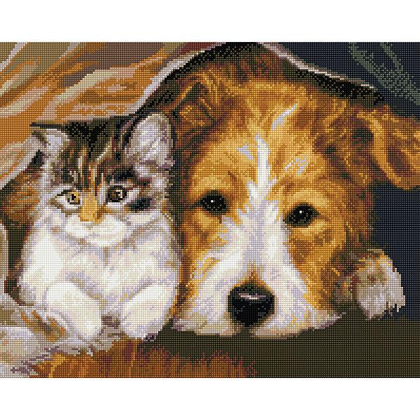 """Алмазная мозаика """"Котенок и пес"""" 40*50 см"""