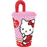 "Бокал ""Hello Kitty"" 450 мл с крышкой и трубочкой"