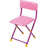 """Складной стул с мягким сиденьем """"КУ1"""" Сердечки, Ника, розовый"""