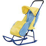 Санки-коляска Малышок 1, Galaxy, желтый/голубой