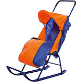 Санки-коляска Малышок 1, Galaxy, оранжевый/синий