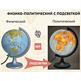 Глобус физический/политический 25см (с подсветкой)