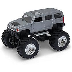 Модель машины 1:34-39 Hammer H3 Big Wheel, серебряная, Welly