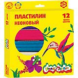 Пластилин неоновый 12 цветов  со стеком