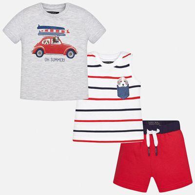 Комплект: футболка, майка и шорты для мальчика Mayoral - розовый
