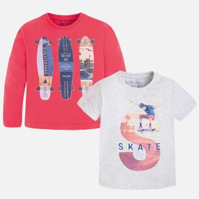 Комплект: футболка и футболка с длинным рукавом для мальчика Mayoral - красный