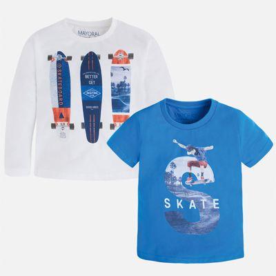 Комплект: футболка и футболка с длинным рукавом для мальчика Mayoral - белый