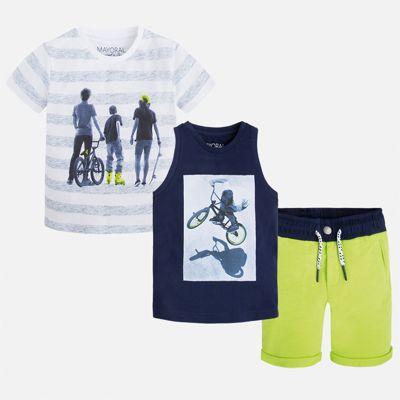 Комплект: футболка, майка и шорты для мальчика Mayoral - синий