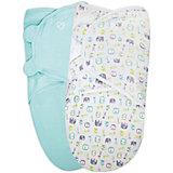 Конверт на липучке SwaddleMe Organic®, р-р L, 2 шт, Summer Infant, голубой/слоники