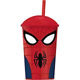 """Стакан """"Великий Человек-паук"""" с соломинкой и крышкой (400 мл)"""