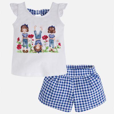 Комплект: футболка с длинным рукавом и шорты для девочки Mayoral - синий