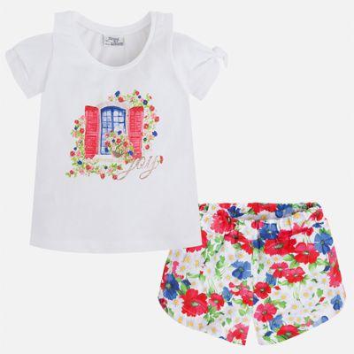 Комплект: футболка и шорты для девочки Mayoral - красный