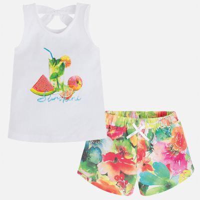 Комплект: футболка и шорты для девочки Mayoral - зеленый