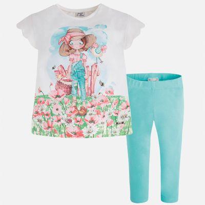 Комплект: футболка и леггинсы для девочки Mayoral - синий
