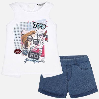 Комплект: топ и шорты для девочки Mayoral - голубой