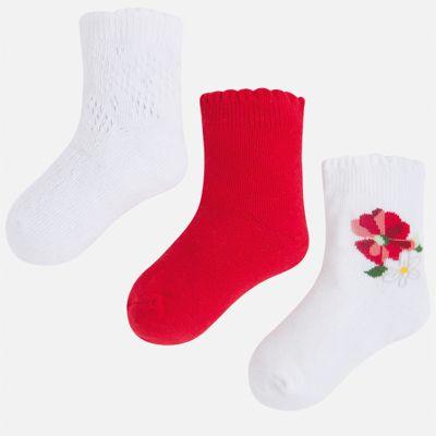 Носки (3 пары) для девочки Mayoral - красный