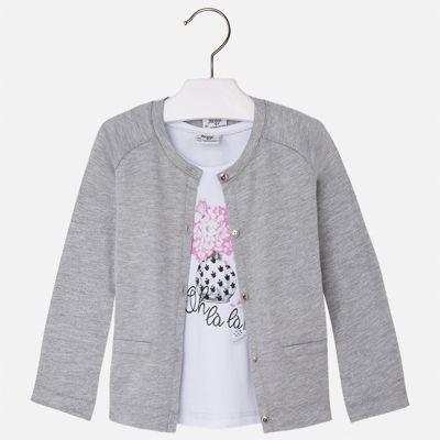 Комплект: топ и кардиган для девочки Mayoral - серый