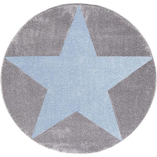 teppich star silbergrau blau rund happy rugs mytoys. Black Bedroom Furniture Sets. Home Design Ideas
