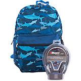 """Рюкзак """"Sharks"""" с наушниками, цвет синий"""