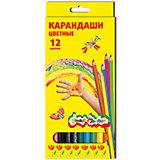 Цветные карандаши 12 цв, шестигранные с заточкой
