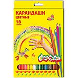 Цветные карандаши 18 цв, шестигранные  с заточкой