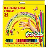 Цветные карандаши 24 цв, шестигранные с заточкой