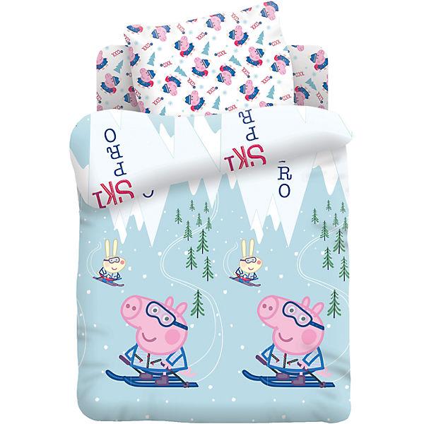 """Детское постельное белье 1,5 сп. Непоседа, """"Свинка Пеппа"""" Джордж на лыжах"""