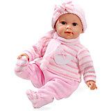 Кукла, с соской, Elegance, в вязаном костюмчике, шапочке, шарфике, розовый, 42 см, плачет,  Arias