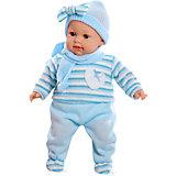 Кукла Elegance, 42 см, с соской, голубом в вязаном костюмчике, плачет, Arias