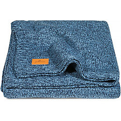 Вязаный плед 75х100 см, Jollein, Stonewashed knit navy