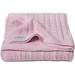 Вязаный плед (косичка) 100х150 см, Jollein, Light pink