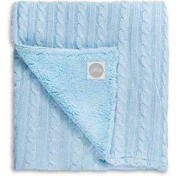 Вязаный плед (косичка) с мехом 75х100 см, Jollein, Light blue