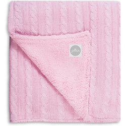 Вязаный плед (косичка) с мехом 75х100 см, Jollein, Light pink