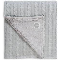Вязаный плед (косичка) с мехом 75х100 см, Jollein, Light grey