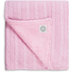 Вязаный плед (косичка) с мехом 100х150 см, Jollein, Light pink