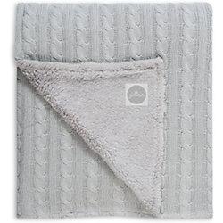 Вязаный плед (косичка) с мехом 100х150 см, Jollein, Light grey