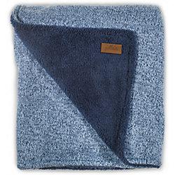 Вязаный плед с мехом 100х150 см, Jollein, Stonewashed knit navy