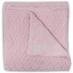 Вязаный плед с мехом 100х150 см, Jollein, Vintage pink