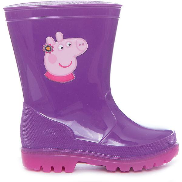 Резиновые сапоги Peppa Pig  для девочки KAKADU со светодиодами, сиреневые