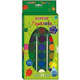 Акварельные краски, 21 цв. + 2 кисточки