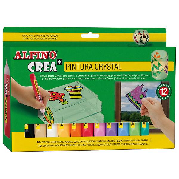 Гелевые карандаши Cristal Paint (гель-краски для витражной росписи), 12 цв. + шаблоны и подложки.