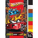 Цветная бумага (8 цветов, 8 листов), Hot Wheels