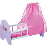 "Деревянная кроватка для куклы ""Бабочка"" с пологом, 53*30*25 см, Mary Poppins"