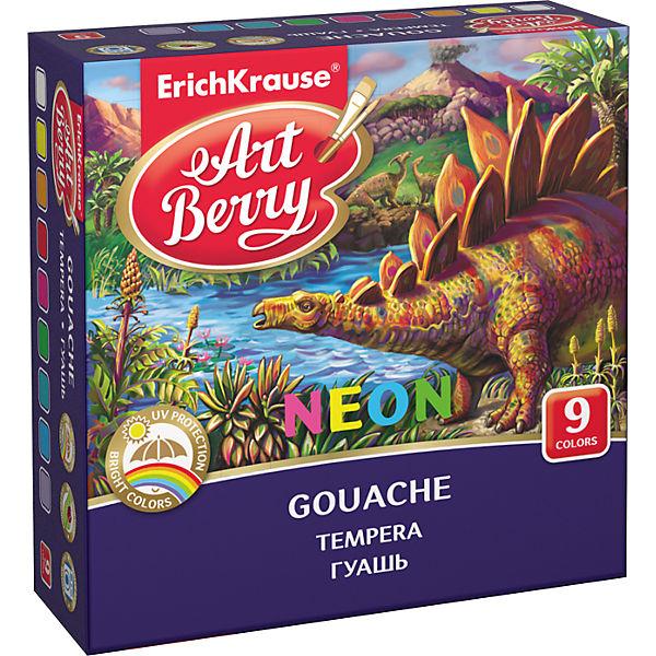 Гуашь ArtBerry Неон с УФ защитой яркости, 9 цветов по 20мл